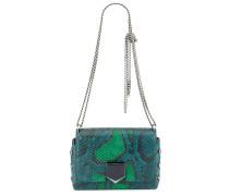 Lockett Petite Handtasche aus mattem Python in Flaschngrün und hellem Grün