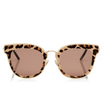Nile Cat-Eye Sonnenbrille aus Metall in Rose Gold mit Leoparden-Lederdetails