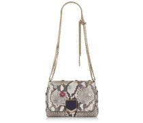 Lockett Petite Handtasche aus natürlichem Pythonleder mit Kristallknöpfen und metallischen Nieten