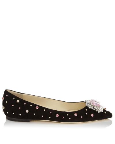 Romy Flat Flache Schuhe aus schwarzem Wildleder mit Kristallverzierung und Schmucksteinbesatz
