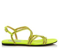 Nickel Flat Flache Sandalen aus gelbenem Wildleder