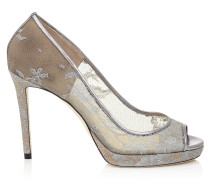 Luna 100 Peeptoe Plateau-Pumps mit silberner Spitze in Metallic-Optik
