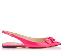 Blare Flat Flache Slingback Schuhe aus Neonrosanem Lackleder
