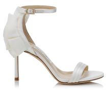 Kerry 85 Sandalen aus elfenbeinweißem Satin