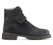 JC X Timberland/f Stiefel aus schwarzem Nubukleder mit stahlfarbenem feinem Glitzer