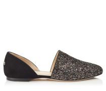 Globe Flat Flache Schuhe aus schwarzem Wildleder mit bronzefarbenem und mitternachtsblauem Glitzer