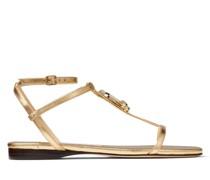 Alodie Flat Flache Sandaletten aus goldenem Nappaleder in Metallic-Optik mit JC Emblem