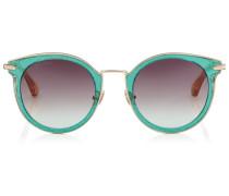 Raffy Sonnenbrille mit rundem Gestell und grünen Glitzerdetails
