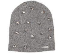 EVA Mütze aus perlengrauem Kaschmir-Mix mit Kristallverzierung