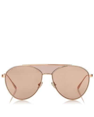 Ave/s 58 Aviator-Sonnenbrille aus Metall in Nude und Rosa mit Emaildetails an den Bügeln