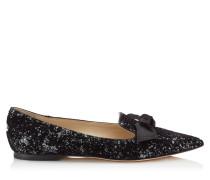 Gabie Flat Flache spitze Schuhe aus Glitzer-Samt mit Dévoré in Anthrazit