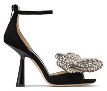 Mana 100 Sandaletten aus schwarzem Wildleder mit kristallverziertem Schleifenverschluss