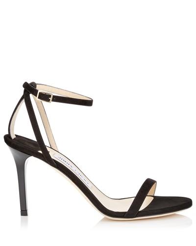 Minny 85 Sandalen aus schwarzem Wildleder