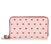 Milly Brieftasche aus bedrucktem Leder in Kamelie mit roten Herzen