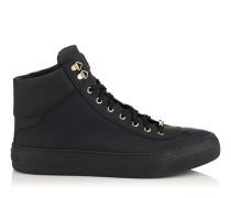 Argyle Sneaker aus mattem schwarzem genarbten Kalbsleder