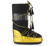 MB Classic Moon Boot® aus gelbem Glanzleder und schwarz glänzendem Gewebe