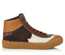 Argyle High-Top-Sneaker aus Leder mit weißem und ebenholzfarbenem Fell-Print
