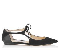Vanessa Flat Spitze flache Schuhe aus schwarzem Wildleder und Nappaleder