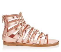 Gigi Flat Sandalen aus rosanem Glanzleder
