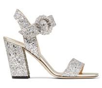 Maysa 85 Sandaletten aus grobem funkelndem Glitzergewebe in Platin mit Kristallschnalle