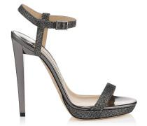 Claudette 120 Sandalen aus anthrazitfarbenem Glitzer-Lamé