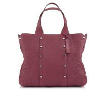 Lockett Shopper Handtasche aus weinrotem genarbtem Leder