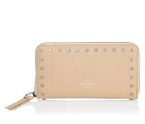 Pippa Brieftasche mit umflaufenden Reißverschluss aus Leder in Ballettrosa mit runden Nieten