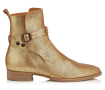 Holden Boots aus goldenem Leder in Metallic-Optik