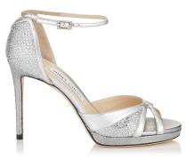 Talia 100 Sandalen aus Nappaleder in Metallic-Optik und silbernem Glitzergewebe