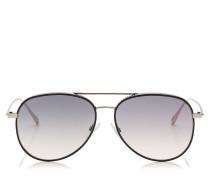 Reto Aviator Sonnenbrille in Schwarz und Palladium mit Nietendetails