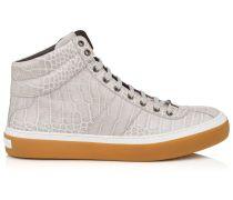 Belgravia High-Top-Sneaker aus grau glänzendem Kroko-Reliefleder