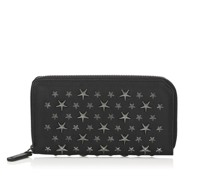 Carnaby Black Biker Leather Travel Wallet with Stars