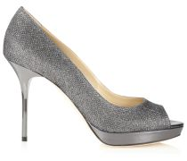 Luna Plateaupumps aus Lamé-Glitzergewebe in Anthrazit