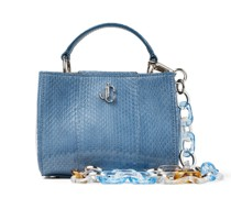 Varenne TOP Handle Mini Kleine Handtasche aus glänzendem Elapheleder in Schmetterlingsblau mit Tragegriff