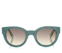 EDA Sonnenbrille mit rundem Gestell aus grünem Acetat mit Blatt-Effekt