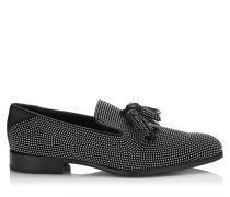 Foxley Mokassin aus schwarzem Leder mit kleinen stahlfarbenen Nieten