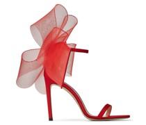 Aveline 100 Sandaletten mit asymmetrischen Fascinator-Schleifen aus Ripsband in Rot