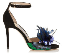 Annie 100 Peeptoe-Sandalen aus schwarzem Wildleder mit blauer Federstickerei