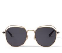 Franny Hexagonale Sonnenbrille in Palladium und Rose Gold mit grau-silbernen Spiegelgläsern