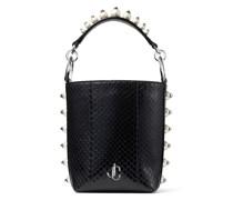 Varenne Bucket/s Handtasche aus schwarzem Elapheleder mit Perlen