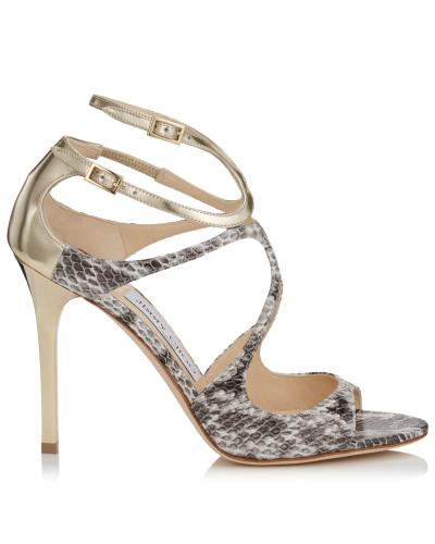 Lang Sandalen aus glänzendem Elapheleder und Glanzleder in Platin