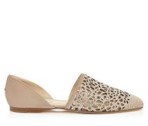 Globe Flat Flache Schuhe aus nudefarbenem Wildleder mit Laser-Ausschnitt und Kristallen