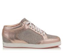 Miami Sneaker mit Print-Leder und Glitzer in Rosa