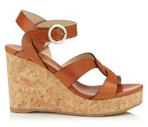 Aleili 100 Schuhe aus Vachetteleder in Cuoio mit Wedge und Schnalle