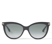 Axelle Cat-Eye Sonnenbrille aus schwarzem Acetat und Metall in Rose Gold mit grauen getönten Gläsern