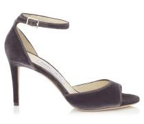 Annie 85 Peeptoe-Sandalen aus braungrauem Samt
