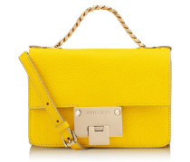 Rebel Soft Mini Kleine Umhängetasche aus weichem genarbtem gelben Ziegenleder