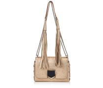 Lockett Petite Handtasche aus goldenem genarbtem Leder in Metallic-Optik und Schulterriemen mit Quasten