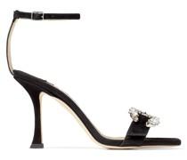 Marsai 90 Sandaletten aus schwarzen Wildleder mit Kristallschnalle