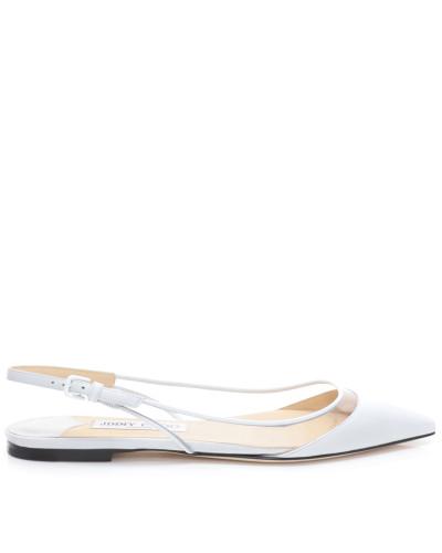 Erin Flat Spitze Slingback-Schuhe aus weißem Nappaleder und durchsichtigem Plexi